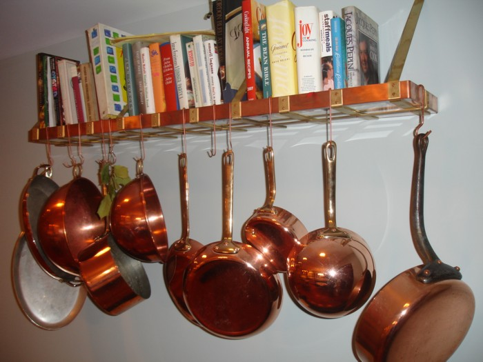 How do you hang pots and pans on the kitchen wall with for Kitchen s hooks for pots and pans