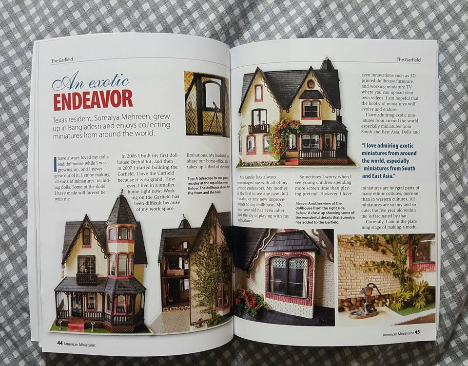 my Garfield dollhouse got featured on American Miniaturist, Issue #156!