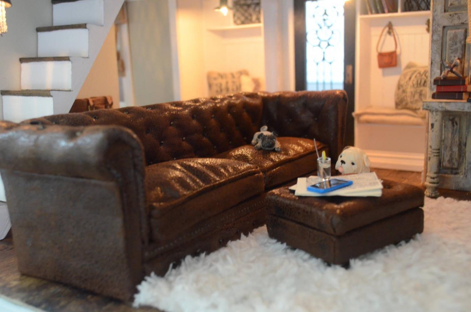 Miniature Restoration Hardware Vintage Leather Kensington Sofa