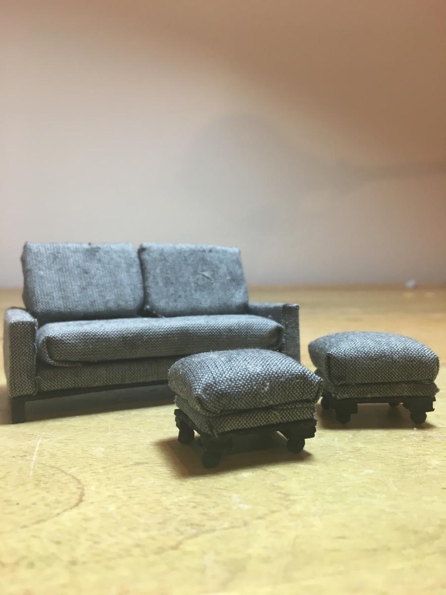 Grey 3 Seater Sofa & Ottomans