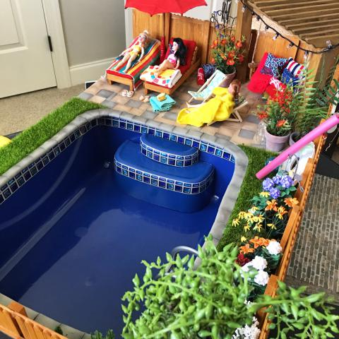 Mli designs the greenleaf miniature community for Barbie doll house with swimming pool