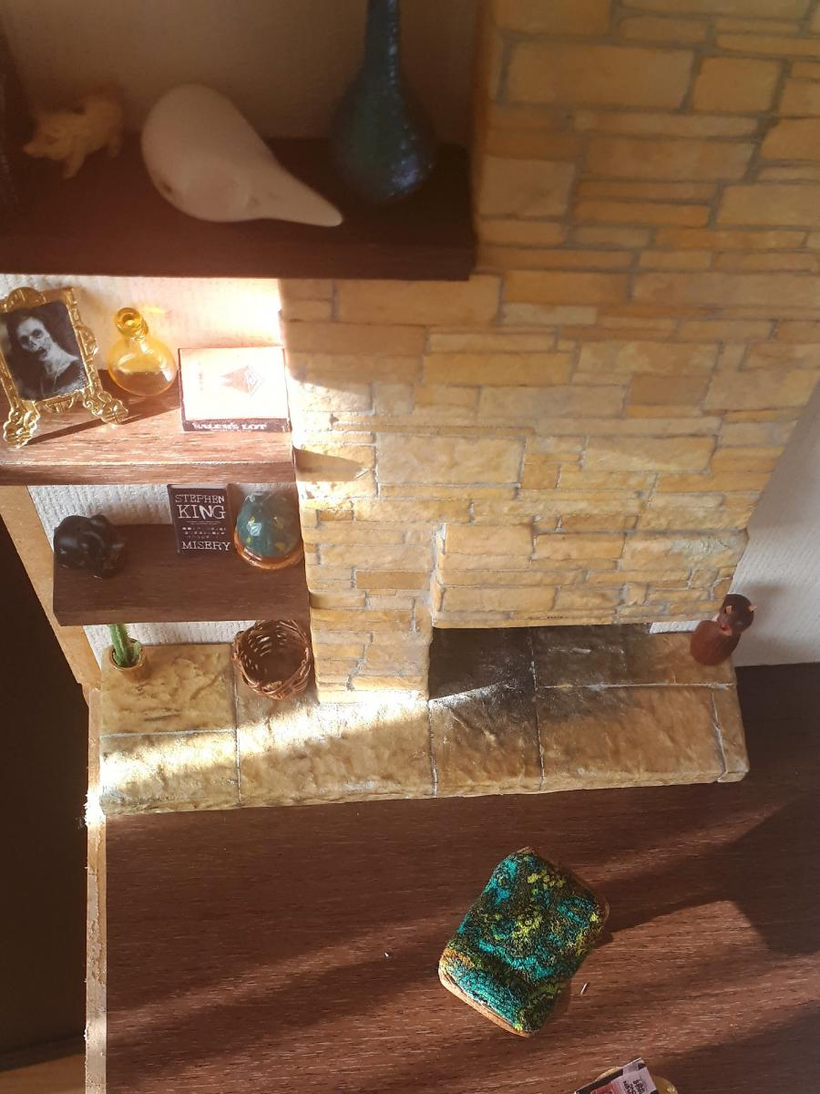 Fireplace and floating shelves