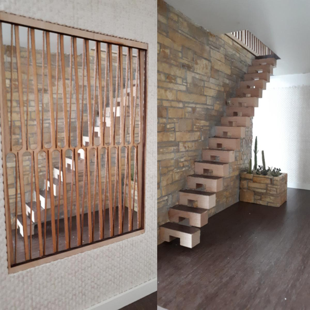 Hallway divider and floating staircase
