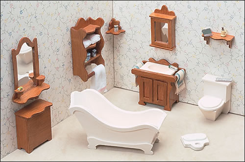 Simple DIY Bathroom Doll House Dollhouse Miniature Model Furniture Kit LED
