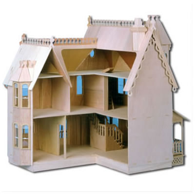The Pierce Dollhouses: Unpainted Back View